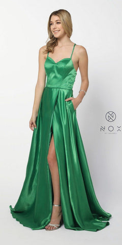 Green Long Prom Dress Corset Open-Back with Pockets and Slit