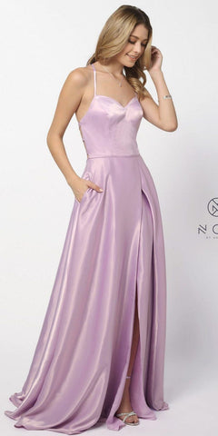 Lavender Long Prom Dress Corset Open-Back with Pockets and Slit