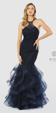 Tiered Mermaid Prom Gown Navy Blue Cut-Out Back