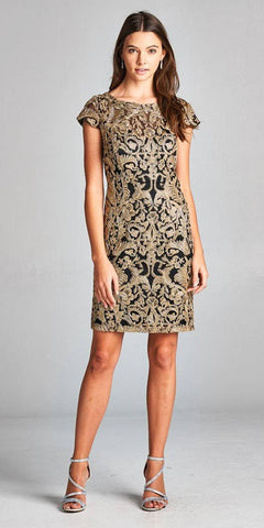 Aspeed M1902 Black/Gold Appliqued Short Formal Dress Cap Sleeves
