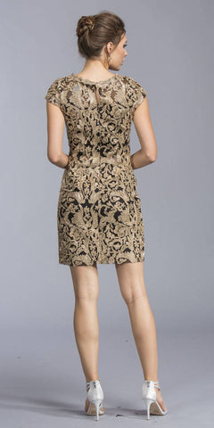 Black/Gold Appliqued Short Formal Dress Cap Sleeves