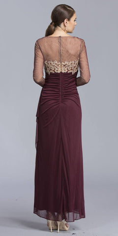 Illusion Long Sleeved Long Formal Dress with Appliques