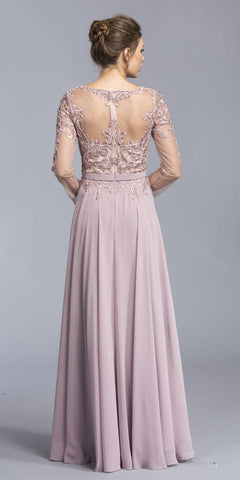 Mauve Long Sleeve Embroidered Long Formal Dress