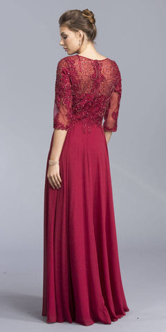 Burgundy Long Formal Dress Appliqued Mid-Length Sleeves