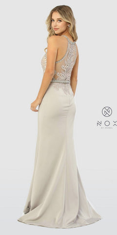 Silver/Rose Appliqued Halter Long Prom Dress