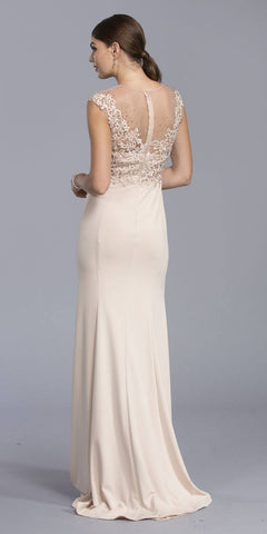 Illusion Appliqued Bodice Long Formal Dress Cap Sleeve Champagne