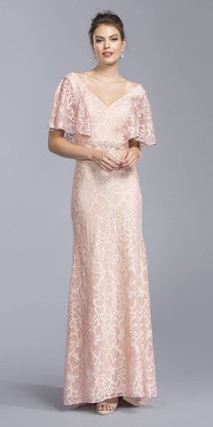 Dusty Rose V-Neck Long Formal Lace Dress V-Neck with Flutter Sleeves