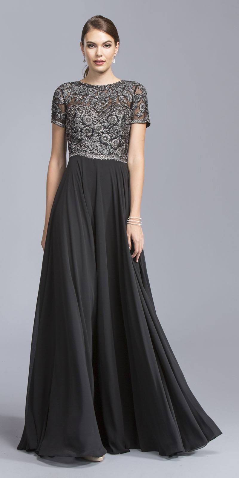 Aspeed Usa M2045 Black Short Sleeves Long Formal Dress Embroidered