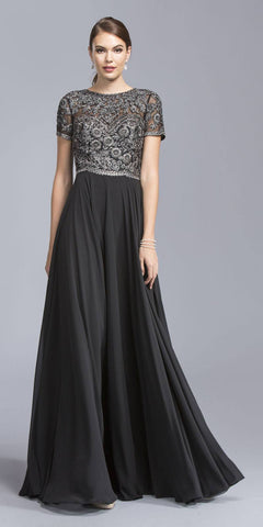 Black Short Sleeves Long Formal Dress Embroidered Bodice