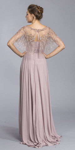 Aspeed USA M2070 Mauve Floor Length Formal Dress with Embroidered Poncho
