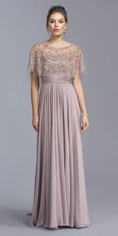 Mauve Floor Length Formal Dress with Embroidered Poncho