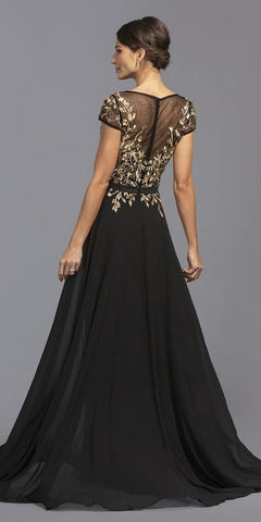 Short Sleeves Black/Gold Embroidered Long Formal Dress