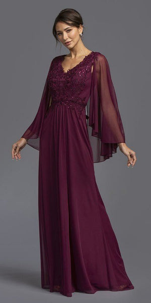 Appliqued Long Formal Dress V-Neck with Cape Plum