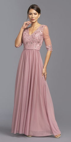 Sheer Mid-Length Sleeve Long Formal Dress Dusty Rose