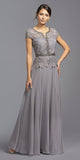 Short Sleeved Beaded A-Line Long Formal Dress Gray