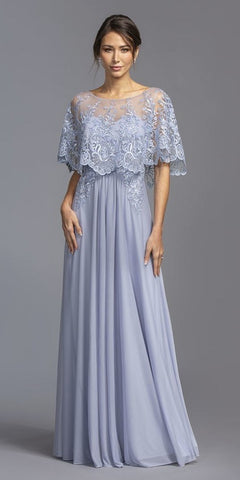 Embroidered Long Formal Dress with Trumpet Long Sleeves Off White