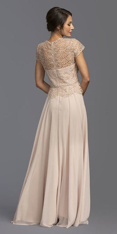 Crocheted-Lace Bodice A-Line Long Formal Dress Champagne