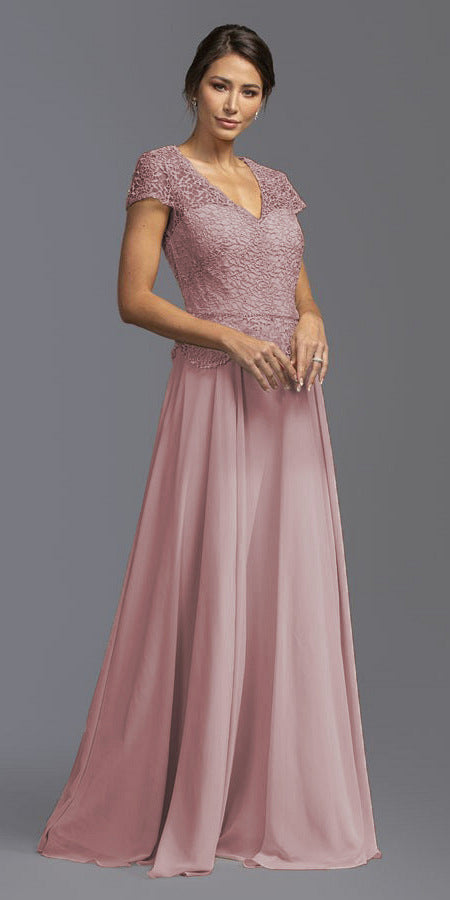 Crocheted-Lace Bodice A-Line Long Formal Dress Dusty Rose