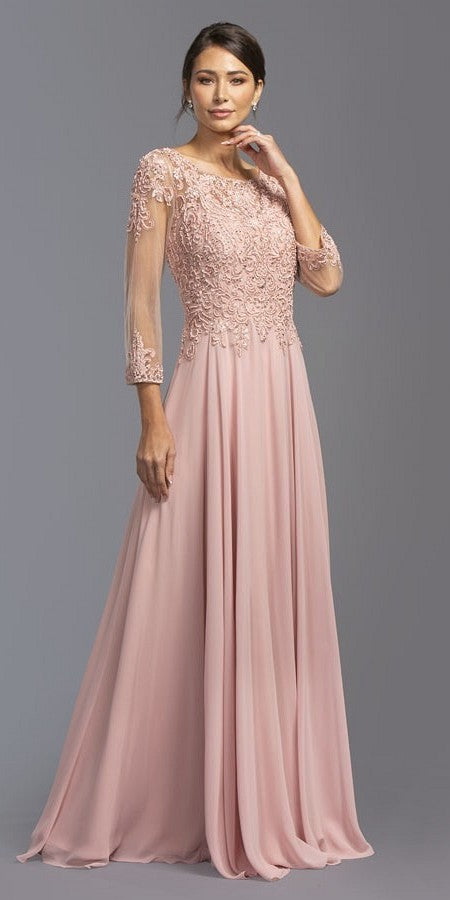5c418a6a303 Aspeed Design M2084 Dusty Rose Appliqued Long Formal Dress with 3 4 ...
