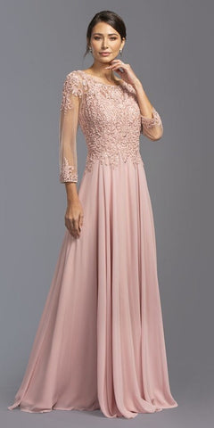 Dusty Rose Appliqued Long Formal Dress with 3/4 Sleeves