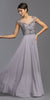 Dark Silver Illusion Bodice Long Beaded Formal Dress