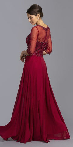 Burgundy Long Formal Dress with Mid-Length Sleeve