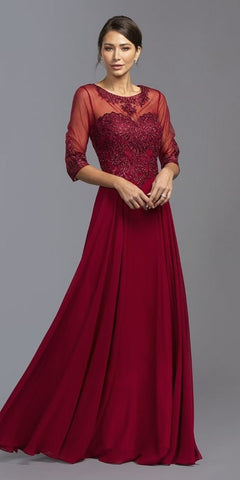 Long Sleeved Lace Bodice A-Line Long Formal Dress Burgundy