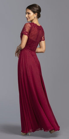 Short Sleeve Embroidered Long Formal Dress Burgundy