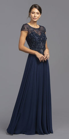 Navy Blue Illusion Beaded Bodice Long Formal Dress