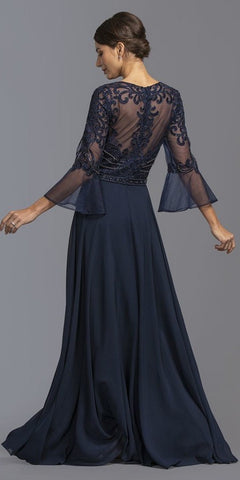 V-Neck Bell Sleeves Long Formal Dress Navy Blue