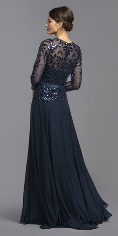 Long Sleeved Navy Blue Sequin-Embellished Long Formal Dress
