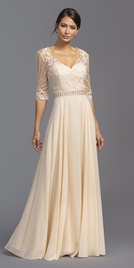 Illusion Quarter Sleeves Beaded Long Formal Dress Champagne