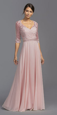 Illusion Quarter Sleeves Beaded Long Formal Dress Dusty Rose