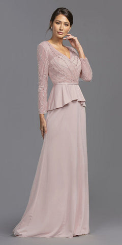 Floor Length A-Line Chiffon Gown Blush With Lace 3/4 Length Sleeve