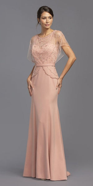Short Illusion Sleeves Beaded Long Formal Dress Mauve