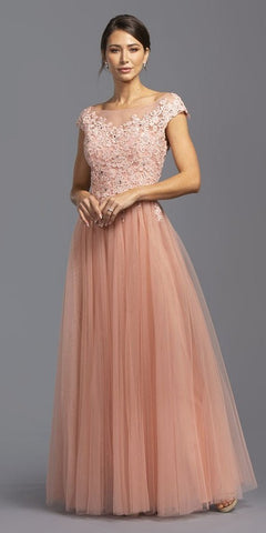 Short Illusion Sleeves Beaded Long Formal Dress Champagne
