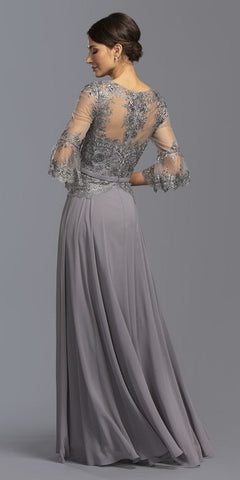 V-Neck Long Formal Dress with Quarter Bell Sleeves Gray