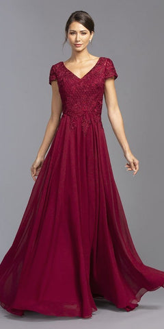Burgundy Short Sleeved Long Formal Dress V-Neck