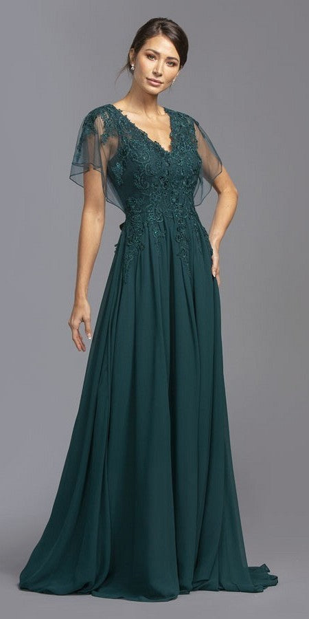 Teal Long Formal Dress with Illusion Flutter Sleeves