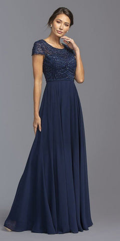 Scoop Neck Beaded Bodice Long Formal Dress Navy Blue