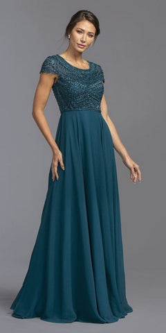 Scoop Neck Beaded Bodice Long Formal Dress Teal