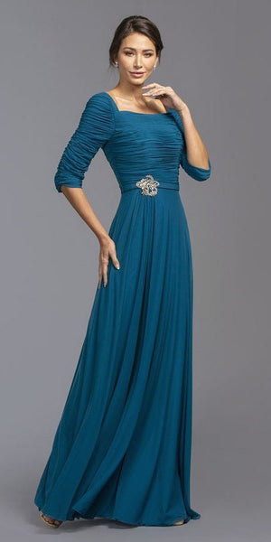 Ruched Mid-Length Sleeves Long Formal Dress Teal with Brooch