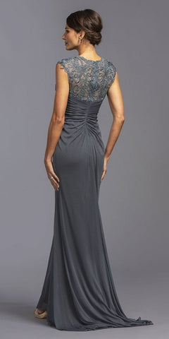 Ruched Charcoal Long Formal Dress V-Neck with Appliques