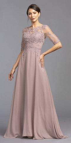 Mauve A-Line Long Formal Dress with Appliques