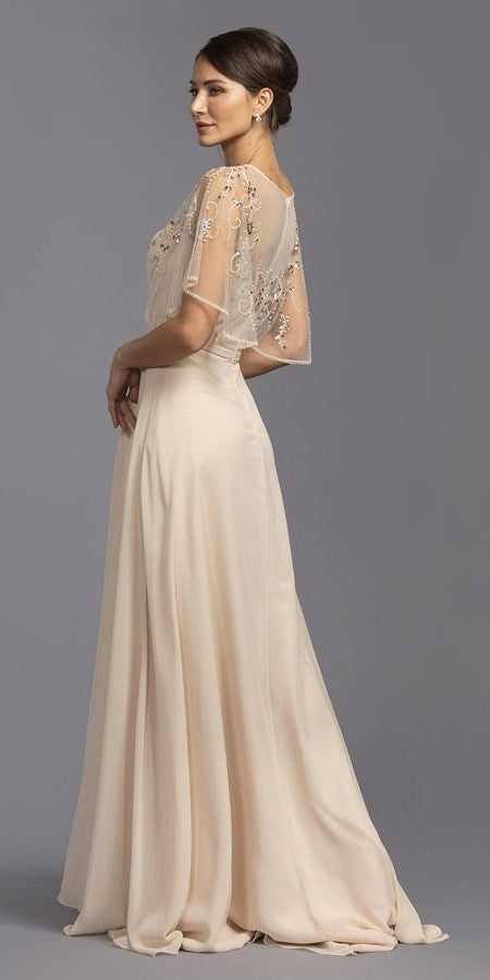 Champagne A-Line Long Formal Dress with Beaded Poncho