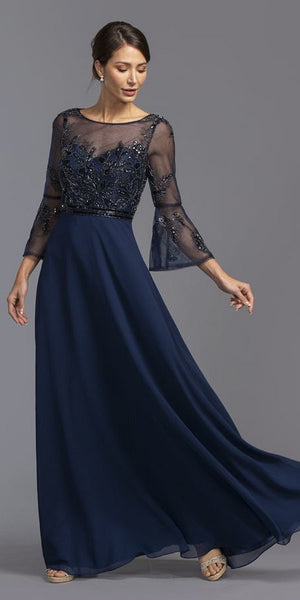 Navy Blue Long Formal Dress with Illusion Bell Sleeves