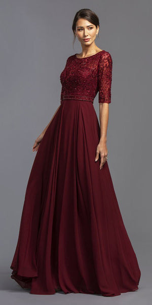 Beaded Long Formal Dress with Mid-Length Sleeves Burgundy