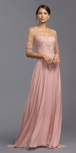 Illusion Mid-Length Sleeved Long Formal Dress Dusty Rose