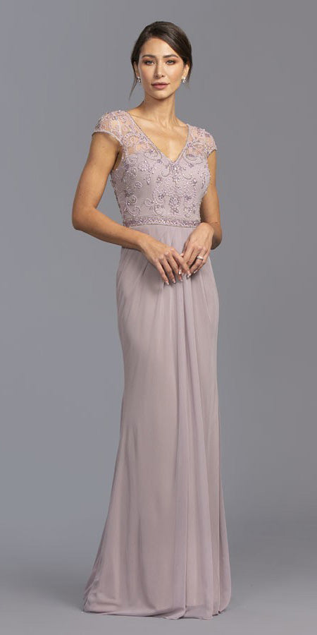 Mauve Cap Sleeves Beaded Long Formal Dress V-Neck