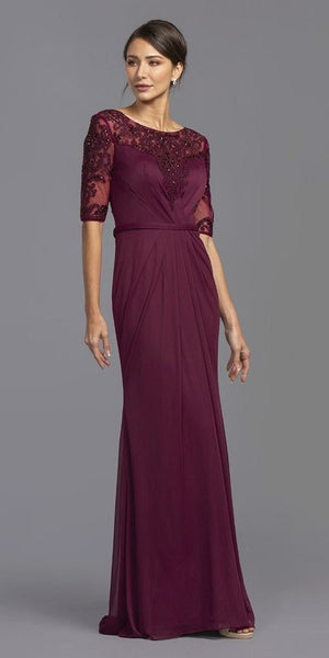 Mid-Length Sleeves Beaded Long Formal Dress Aubergine